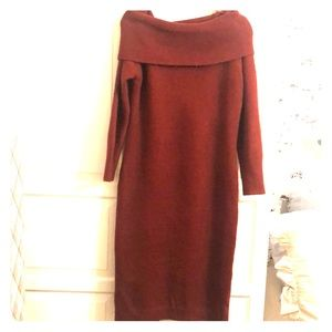 Burgundy Knit Off Shoulder Maternity Dress
